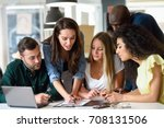 five young people studying on... | Shutterstock . vector #708131506
