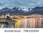 ushuaia harbor port night view. ...   Shutterstock . vector #708132040