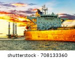 tanker ship and oil platform on ... | Shutterstock . vector #708133360