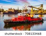 fire rescue ship in port of... | Shutterstock . vector #708133468