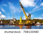 huge floating crane at work in... | Shutterstock . vector #708133480