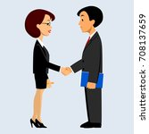 handshake of business man and... | Shutterstock .eps vector #708137659