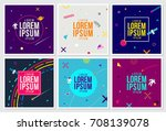 memphis hipster style cards...   Shutterstock .eps vector #708139078