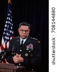 Small photo of Arlington, Virginia, USA, 24th January, 1991 Chairman of the Joint Chiefs of Staff General Colin Powell (USA) holds a news briefing in the Pentagon press room on Operation Desert Shield