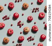 tomato seamless pattern. | Shutterstock . vector #708154384