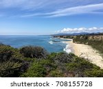 Spectacular Cliffside view of the Beach and the Pacific Ocean, Northern California Coast near Half Moon Bay - Maverick