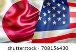 usa and japan flags. 3d waving... | Shutterstock . vector #708156430