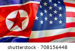 usa and north korea flags. 3d... | Shutterstock . vector #708156448