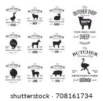 butcher american shop labels... | Shutterstock .eps vector #708161734