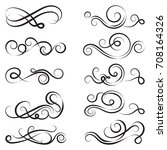 calligraphic black and elegant... | Shutterstock .eps vector #708164326