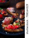 homemade italian bruschetta  | Shutterstock . vector #708164329