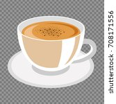 white cup of coffee on a... | Shutterstock .eps vector #708171556