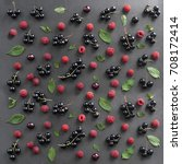 berry mix. raspberry  currant ... | Shutterstock . vector #708172414