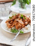Dish Rice With Beef Stroganoff...