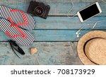 still life of different items... | Shutterstock . vector #708173929