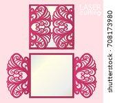 laser cut wedding invitation... | Shutterstock .eps vector #708173980
