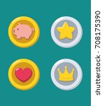 icons of gold and silver coins  ... | Shutterstock .eps vector #708175390