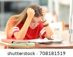 single frustrated student girl... | Shutterstock . vector #708181519