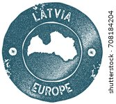 latvia map vintage stamp. retro ... | Shutterstock .eps vector #708184204