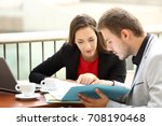 two executives coworking... | Shutterstock . vector #708190468