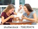 two best friends laughing loud... | Shutterstock . vector #708190474