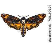death's head hawkmoth....   Shutterstock .eps vector #708190924
