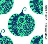 seamless halloween pattern.... | Shutterstock .eps vector #708191809