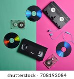 retro devices on a pink mint... | Shutterstock . vector #708193084