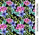 tropical plants  pattern in a... | Shutterstock . vector #708196144