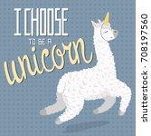 cute cartoon lama alpaca with...   Shutterstock .eps vector #708197560