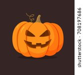 halloween pumpkin with happy... | Shutterstock .eps vector #708197686