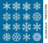 flat design line snowflakes... | Shutterstock .eps vector #708201988