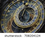 prague astronomical clock close ... | Shutterstock . vector #708204124
