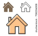 pixel icon of home in three... | Shutterstock .eps vector #708206008