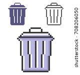 pixel icon of refuse bin in... | Shutterstock .eps vector #708206050