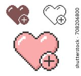 pixel icon of heart with plus... | Shutterstock .eps vector #708206800
