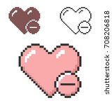 pixel icon of heart with minus... | Shutterstock .eps vector #708206818