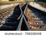 railway crossroads. choosing... | Shutterstock . vector #708208348