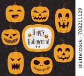 halloween pumpkins set | Shutterstock .eps vector #708211129