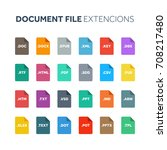 flat style icon set. document ... | Shutterstock .eps vector #708217480