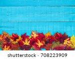 Colorful Fall Leaves Border...