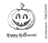 sticker halloween pumpkin.... | Shutterstock .eps vector #708225493
