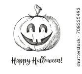 sticker halloween pumpkin.... | Shutterstock .eps vector #708225493
