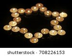 burning candles in the shape of ... | Shutterstock . vector #708226153