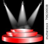 round red podium illuminated by ... | Shutterstock .eps vector #708230038