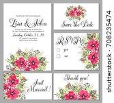 wedding invitation set of... | Shutterstock .eps vector #708235474