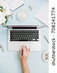 flat lay home office desk....   Shutterstock . vector #708241774