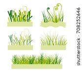 a set of  green grass in... | Shutterstock .eps vector #708252646