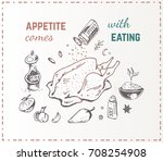 hand drawn food   chicken with... | Shutterstock .eps vector #708254908