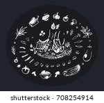 sketch of food chalk on a black ... | Shutterstock .eps vector #708254914